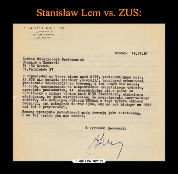 Stanisław Lem vs. ZUS: